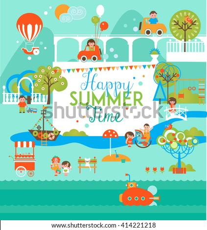 Happy Summer Kids Camp. Design Template for posters, flyers, web, infographics.