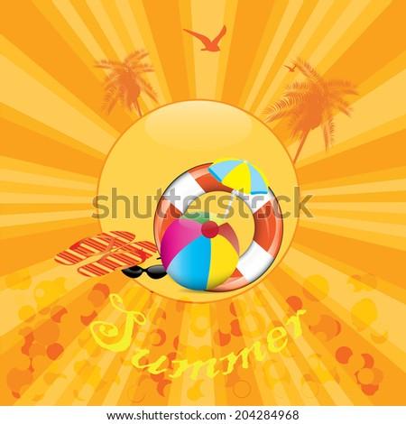 Happy summer orange background - stock vector