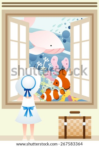 Happy Summer Story - lovely young girl see cute marine friends in undersea with travel bag on a background with open window with brown frame and beautiful ocean scenery : vector illustration - stock vector