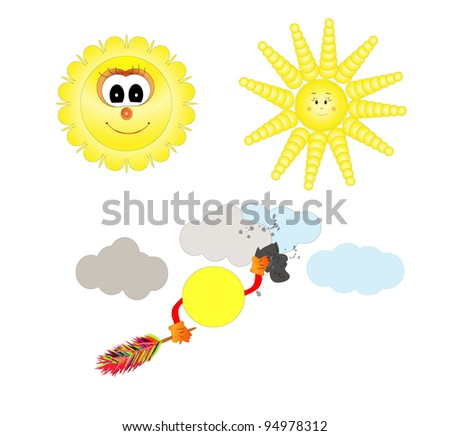 happy sun cartoon isolated over white background vector