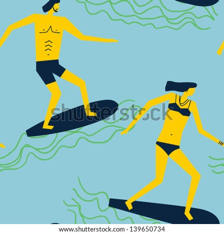 happy surfers gliding over the waves vector seamless pattern - stock vector