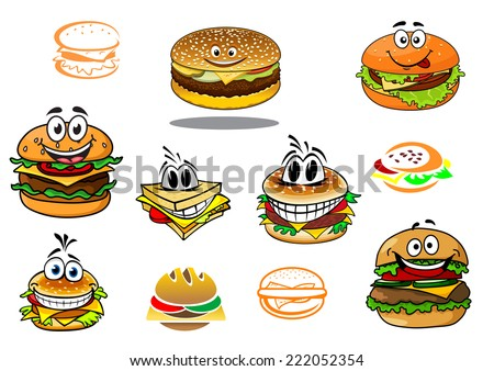 Happy takeaway cartoon hamburger characters for fast food design - stock vector