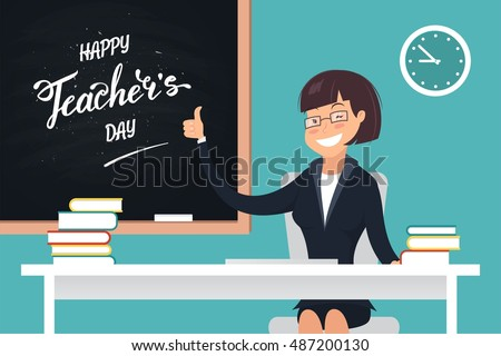 Happy Teacher's Day. A kind teacher smiling and sitting at her desk showing thumb up. Vector illustration