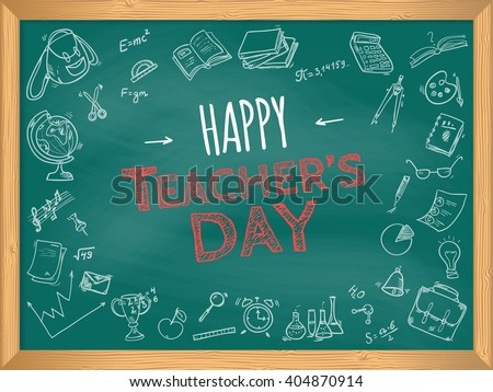 Happy Teacher's Day. School doodles Supplies Sketchy background, composition. Hand Drawn Vector Illustration