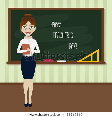 happy teacher`s day! vector concept with teacher