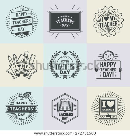 Happy Teachers` Day assorted design insignias logotypes set 1. Thank you signs for teacher appreciation. Vector symbols elements. Thank you notes for teacher. - stock vector