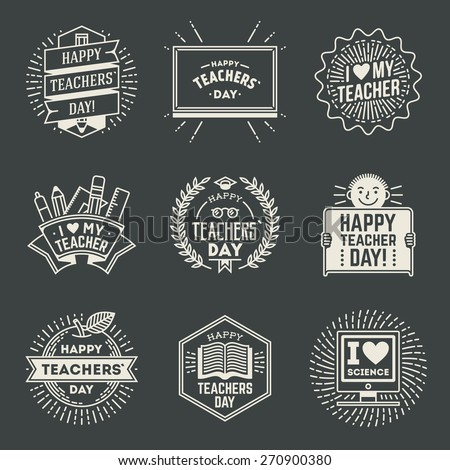 Happy Teachers` Day design insignias logotypes set 1. Thank you signs for teacher appreciation. Vector symbols elements. Thank you notes for teacher. - stock vector