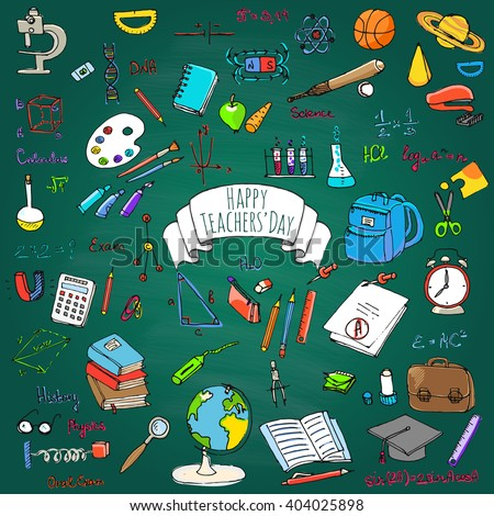 Happy Teachers Day freehand drawing school items Back to School Hand drawing set of school supplies Sketchy doodles vector illustration Doodles, science, physics, calculus, oral exam, history, biology - stock vector