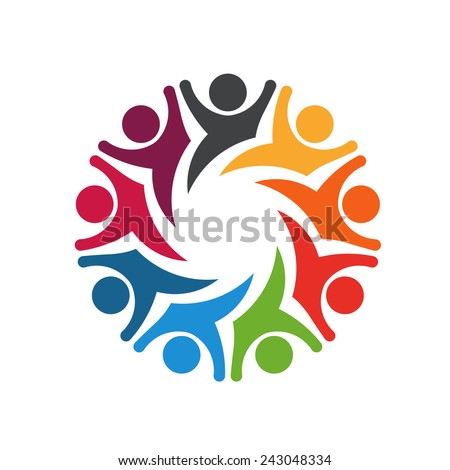Happy Team 8 people logo. Concept of emotions, exciting, playful.  - stock vector