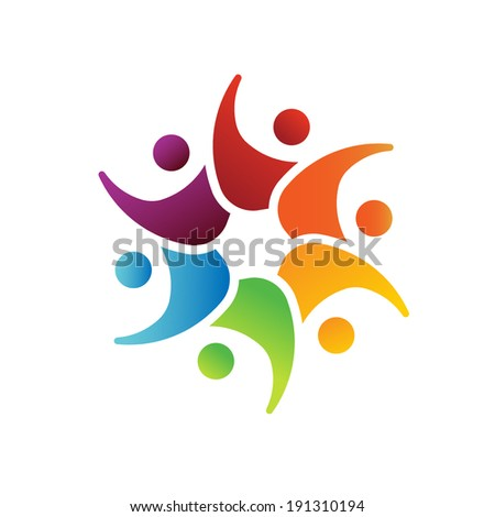 Happy Teamwork 6 circle image. Concept of playful people, happy friends, daycare.Vector icon.Image that represents  people harmony, immigration. - stock vector