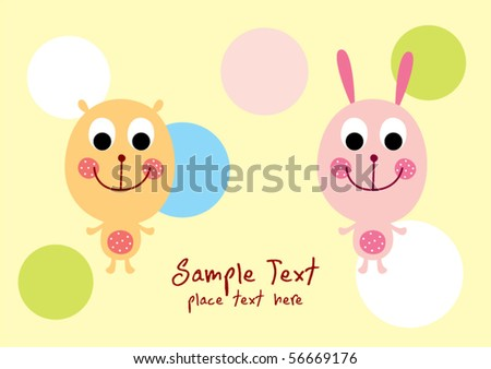 happy teddy bear and bunny friend - stock vector