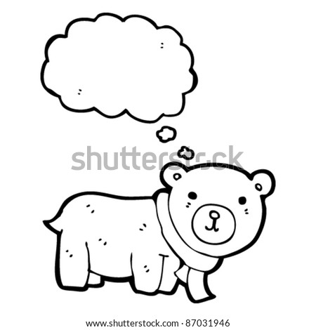 happy teddy bear cartoon with thought bubble