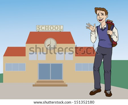 Happy teenager waving with a school in a background, vector illustration  - stock vector