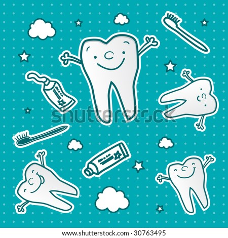 happy teeth cartoon vector wallpaper, dental health for children