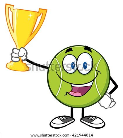 Happy Tennis Ball Cartoon Character Holding A Trophy Cup. Vector Illustration Isolated On White - stock vector
