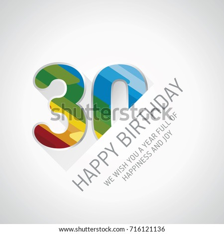 Happy 30th Birthday Color Design Greeting Stock Vector 716121136