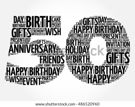 Happy Th Birthday Word Cloud Collage Stock Vector - Best of free clip art 50th anniversary design