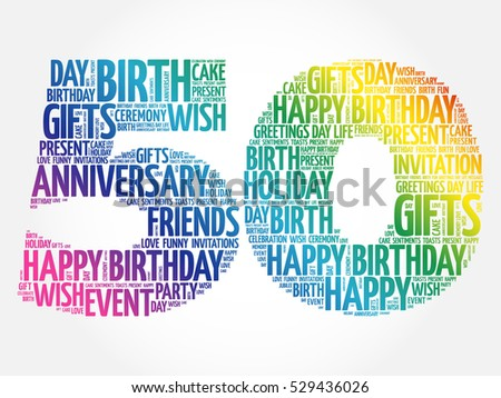 Happy 50th Birthday Word Cloud Collage Stock Vector 529436026