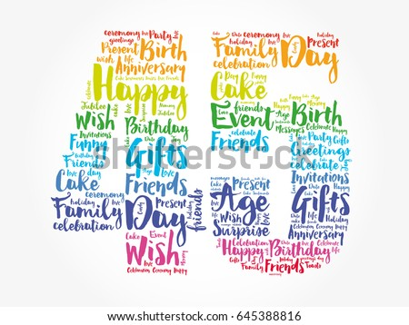 Happy 45th Birthday Word Cloud Collage Stock Vector ...