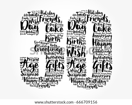 Happy 30th Birthday Word Cloud Collage Stock Vector