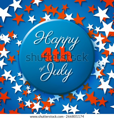 Happy 4th of July card, national american holiday Independence day - stock vector