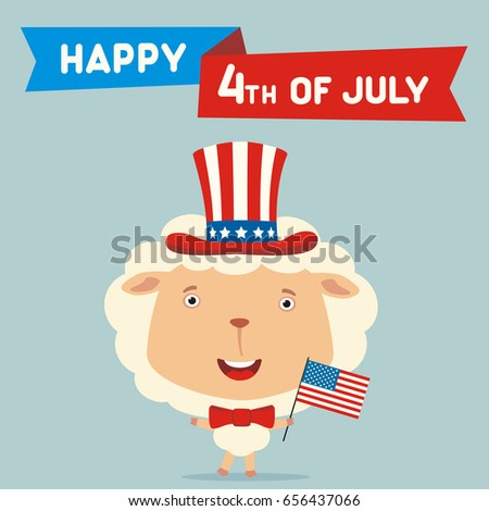 Happy 4th Of July! Funny Sheep With Flag USA For Independence Day. Greeting  Card