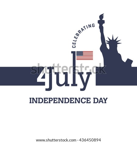 Happy 4th of July independence day web banner template with american waving flag. July 4th typographic design. Usable for greeting cards, banners, print. Liberty of Statue vector illustration. - stock vector