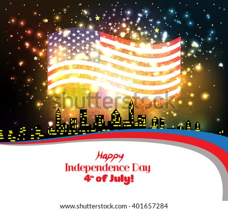 Happy 4th of July independence day with fireworks background - stock vector