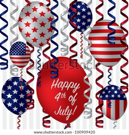 Happy 4th of July patterned balloon card in vector format. - stock vector