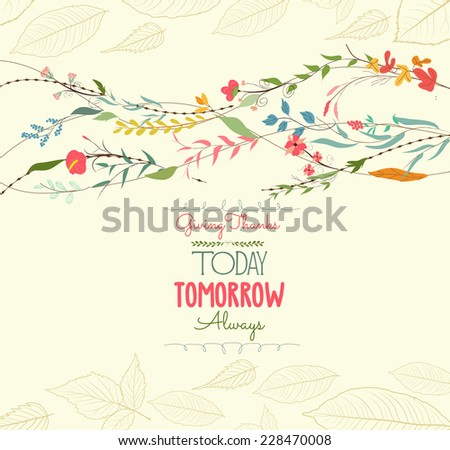 happy thankgiving with florals greeting card - stock vector