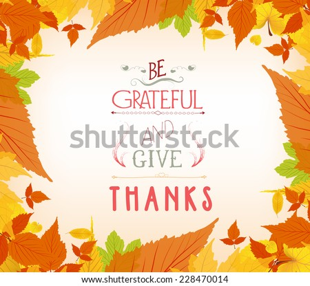 happy thankgiving with leaves greeting card - stock vector