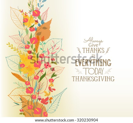 Happy Thanksgiving. Autumn background with leaves - stock vector