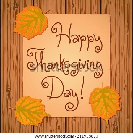 Happy Thanksgiving Background. Card for congratulation. Vector illustration. - stock vector