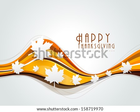 Happy Thanksgiving background with maples leaves, can be use as poster, banner or flyer.  - stock vector