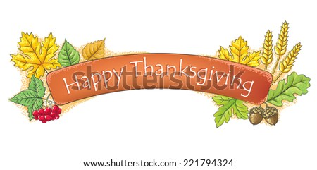 Happy Thanksgiving banner. - stock vector