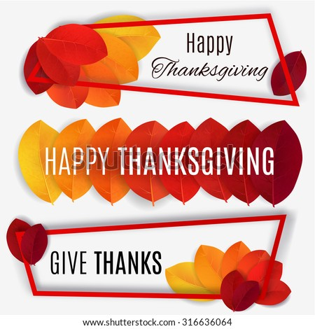 Happy Thanksgiving banner. Thanksgiving background. Vector autumn leaves.  - stock vector