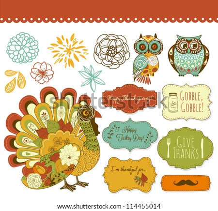Happy Thanksgiving beautiful clip art - stock vector