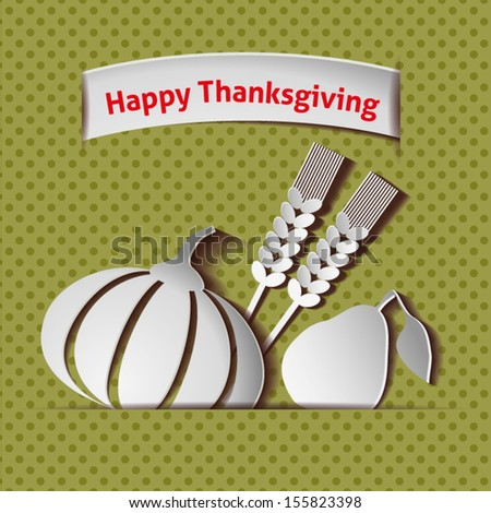 Happy Thanksgiving card - stock vector