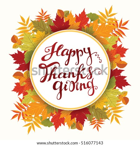 Happy Thanksgiving Card. Hand Drawn Celebration Quote  Photo