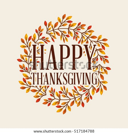 happy thanksgiving card with decorative wreath. colorful design. vector illustration