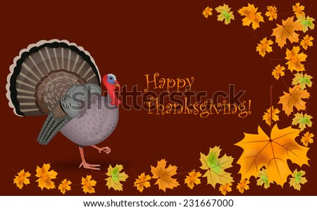 Happy thanksgiving card with the illustration of a turkey and fallen maple leaves, vector. - stock vector