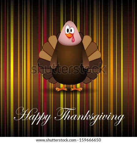 Happy Thanksgiving cartoon turkey - card vector illustration - stock vector