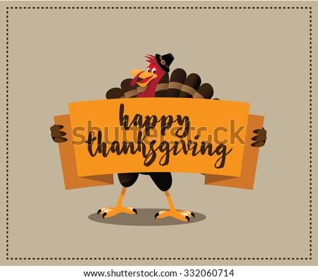 Happy Thanksgiving cartoon turkey holding banner design. EPS 10 vector royalty free stock illustration for greeting card, ad, promotion, poster, flier, blog, article, social media, marketing - stock vector