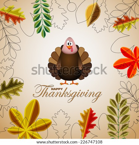 Happy Thanksgiving cartoon turkey with leaves - card vector illustration - stock vector