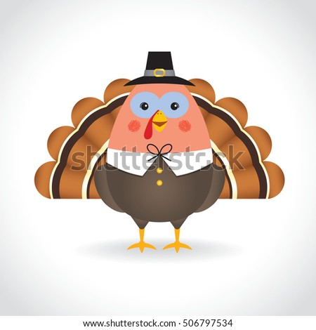 Happy Thanksgiving. Cute cartoon thanksgiving turkey isolated on white background. Vector illustration.