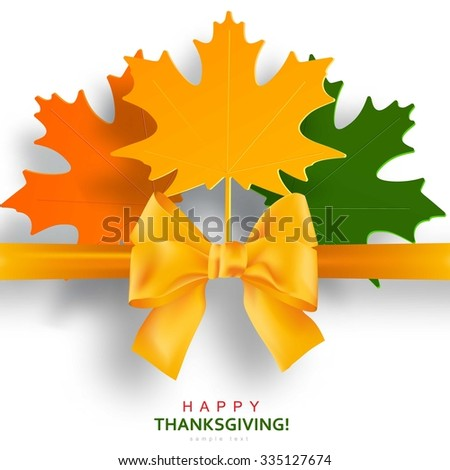Happy Thanksgiving Day background with autumn maple leaves and bow - stock vector