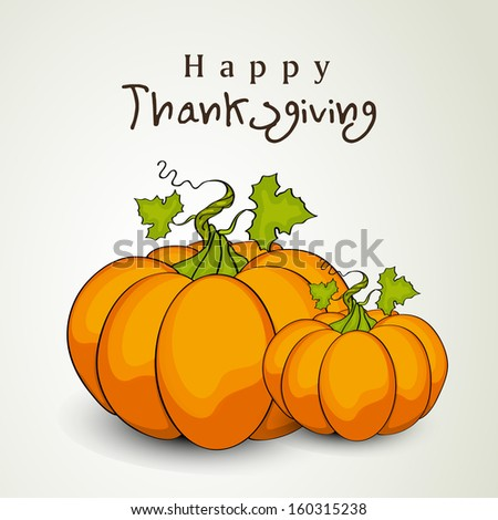 Happy Thanksgiving Day background with pumpkins, can be use as flyer, banner or poster.  - stock vector