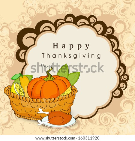 Happy Thanksgiving Day background with wooden basket full with vegetables, fruits, green leaves and meal on floral decorative background.  - stock vector