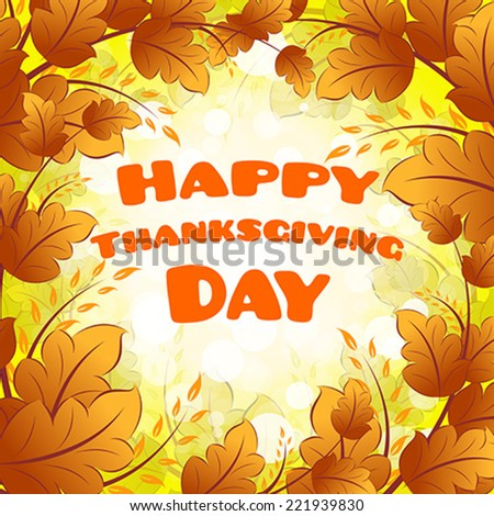 Happy Thanksgiving Day card with Leaves - stock vector