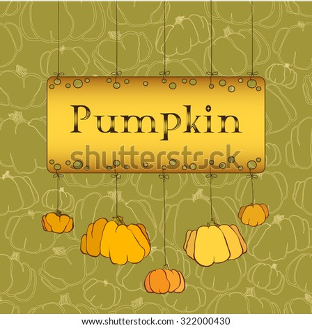 Happy Thanksgiving Day celebration banner or poster design with pumpkins on green background.